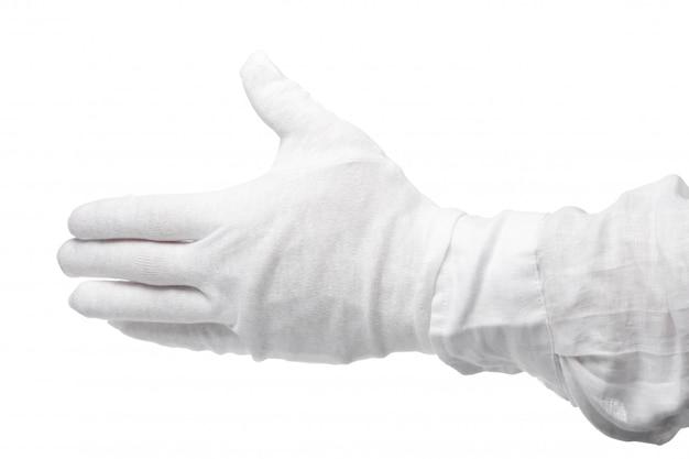 Рука в белой перчатке изолированы. жест бросается в глаза. жестикуляция