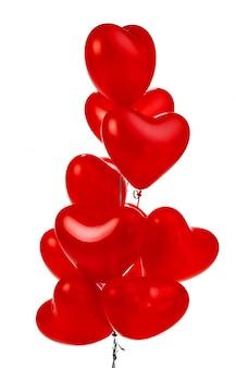 Воздушные шары. букет из красных воздушных шаров в форме сердца