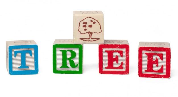 Красочный алфавит блоков. слово дерево на белом