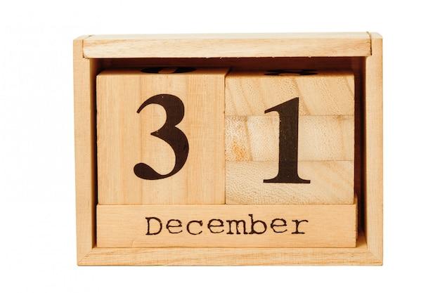 白で隔離木製のカレンダー