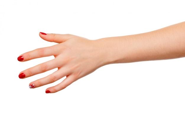 白で隔離される美しい女性手サイン保持