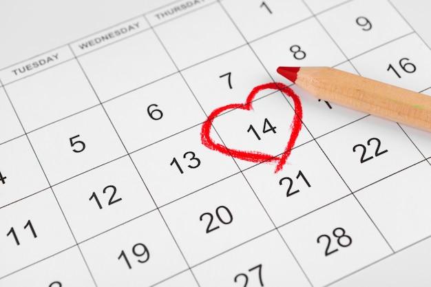 聖バレンタインの日付のカレンダー