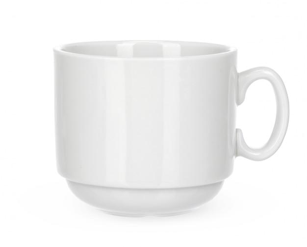 白い背景の空の白いマグカップ分離