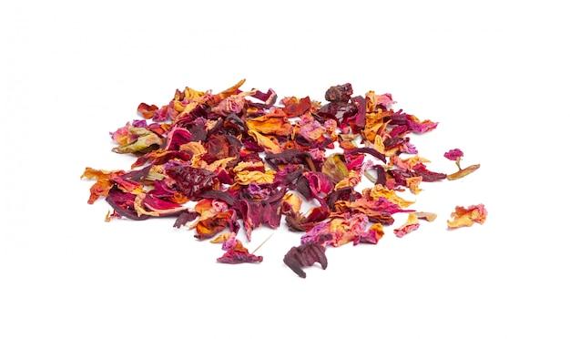 砂糖漬けのフルーツとバラの花びらとお茶