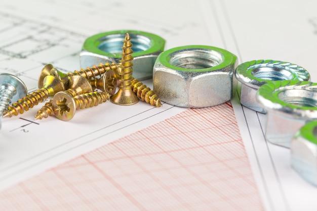 ボルトとナットの技術図面。エンジニアリング、テクノロジー、金属加工