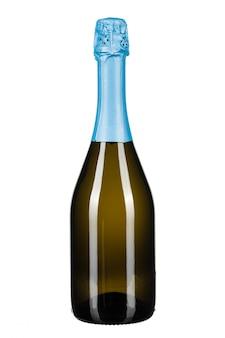 白で隔離されるシャンパンのボトル