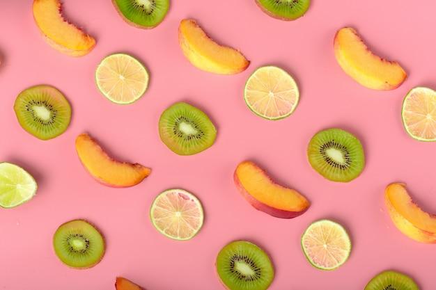 食品のテクスチャー。新鮮なさまざまな果物のシームレスなパターン。