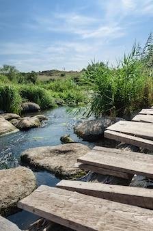 Деревенский речной пейзаж летом