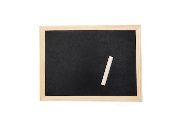 白い背景上のテキストのためのスペースを持つ空の黒板。