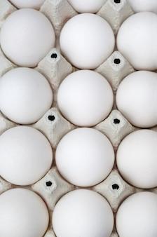Свежие белые яйца в коробке. закройте