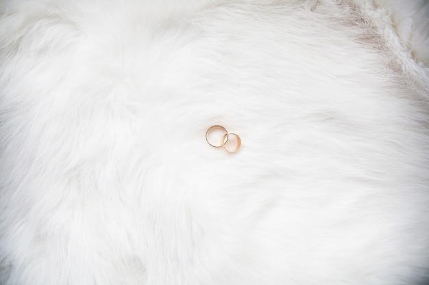 Красивые обручальные кольца на белом фоне