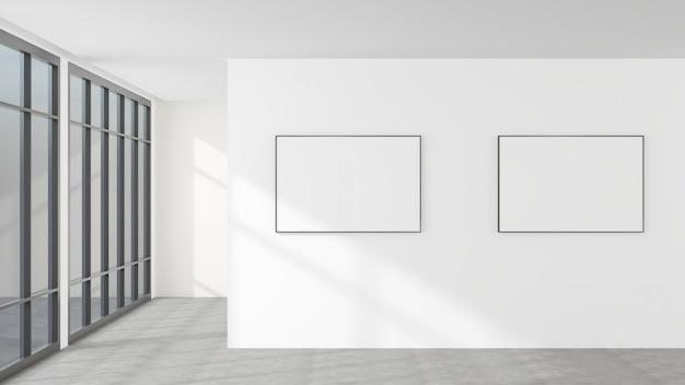 白い壁と空白の額縁。モダンなスタイルの装飾です。