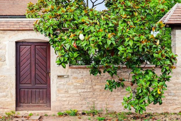Красивая дверь в старом кирпичном доме