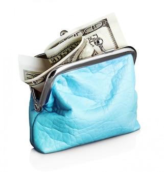 Синий кошелек с банкнотой за сто долларов