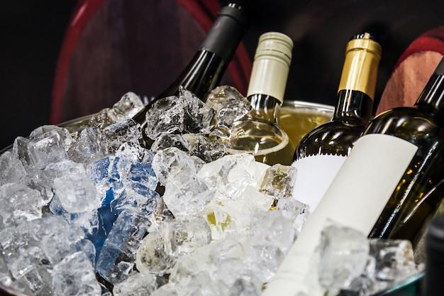 Бутылки вина во льду на дегустации