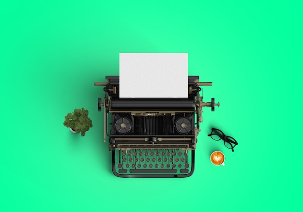 緑の背景にタイプライター