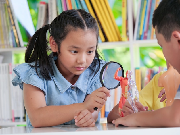 アジアの子供たちは生物学の授業で楽しいグループを組んでいます。ホームスクールのコンセプトです。