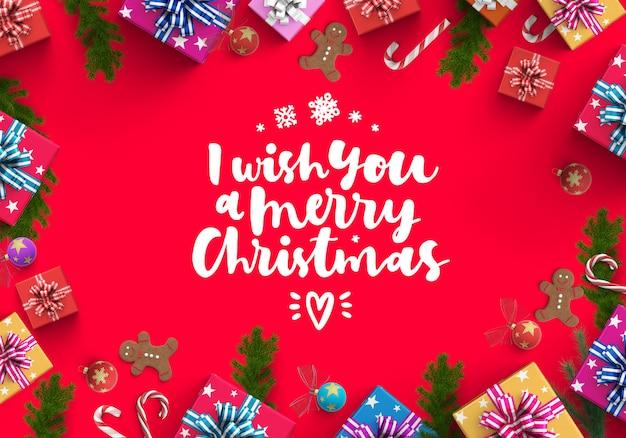 メリークリスマスとギフトボックスの背景