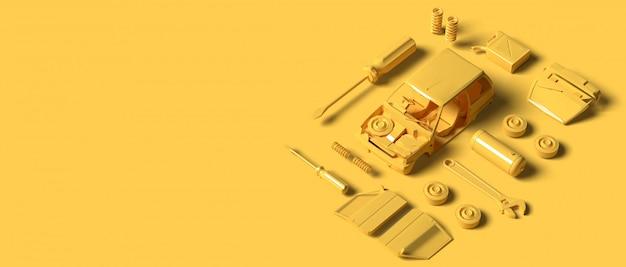 黄色のプラモデル車とツールパーツ