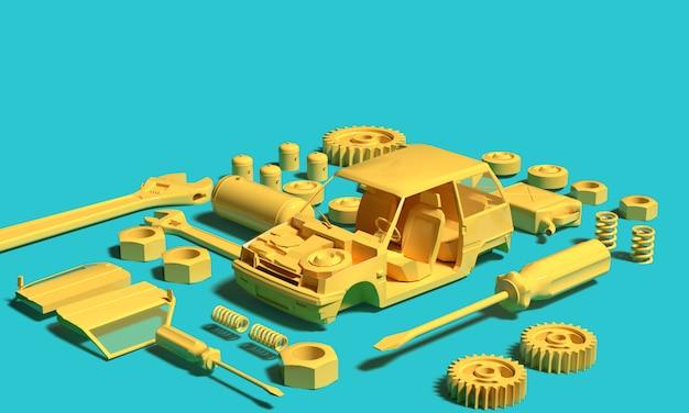 Желтая пластиковая модель автомобиля с частью инструментов