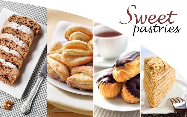 Коллаж из разных сладких пирожных