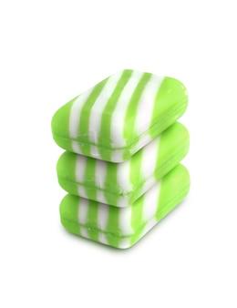 Три новых цветных мыла на белом фоне