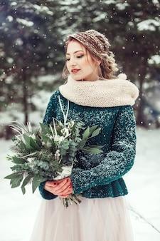 Женщина зимы портрета напольная