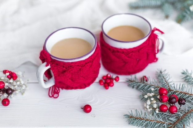 クリスマスにホットドリンクの赤カップ装飾カフェ