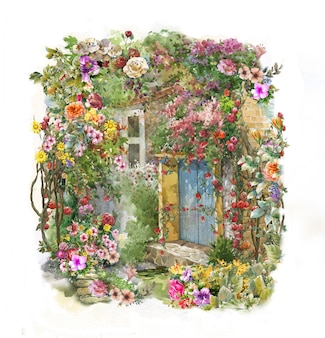 抽象的なカラフルな花の水彩画。