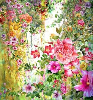 抽象的な花の水彩画。春の色とりどりの花