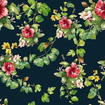葉と花、暗い背景にシームレスパターンの水彩画