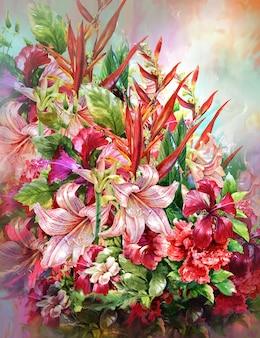 Букет из разноцветных цветов в стиле акварельной живописи