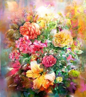 色とりどりの花の水彩画スタイルの花束