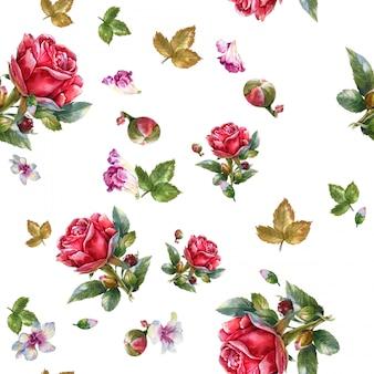 白地に赤いバラ、シームレスなパターンの水彩画イラスト