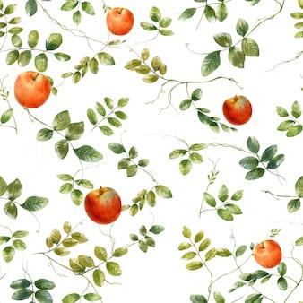 Акварельные иллюстрации листьев и яблок, бесшовный узор на белом