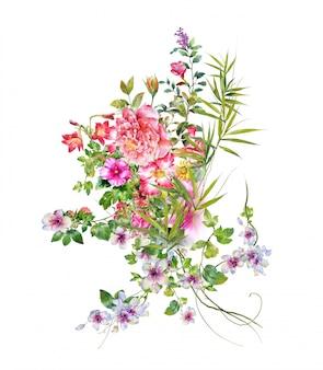 Акварельная живопись из листьев и цветов