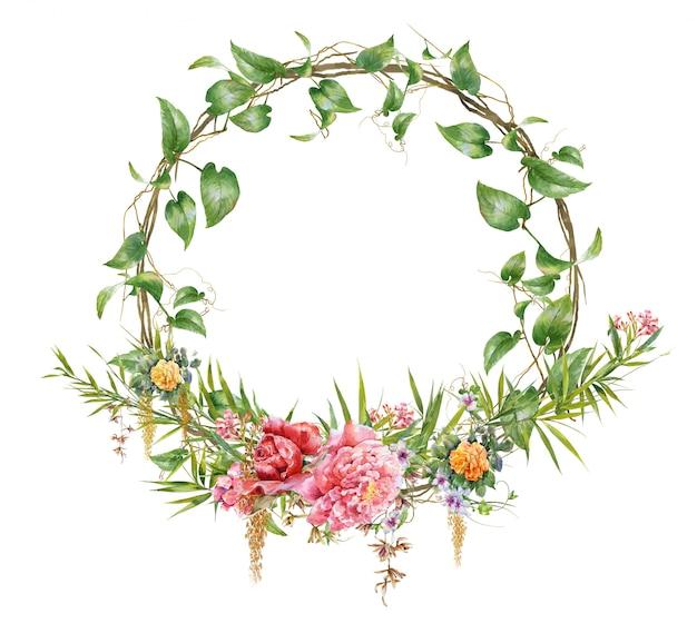 葉と花、白の円の水彩画