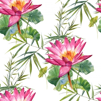 葉と花、白のシームレスなパターンの水彩画