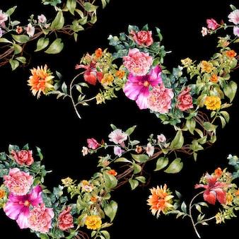 葉と花の水彩画、暗闇の中でシームレスなパターン