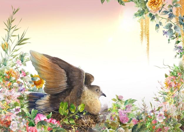 鳥と花、白い背景の上の水彩画