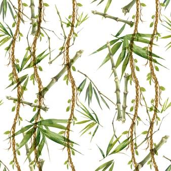 Акварельные иллюстрации листьев бамбука, бесшовный узор на белом фоне