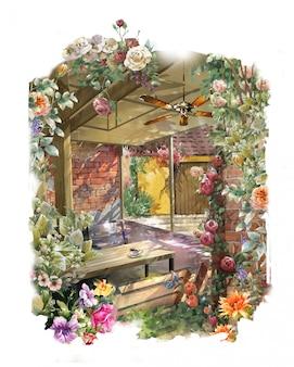抽象的なカラフルな花の水彩画