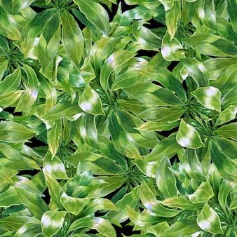 暗い背景に水彩画の葉のシームレスパターン