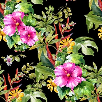 葉と花の水彩画、暗闇の中でシームレスなパターン、