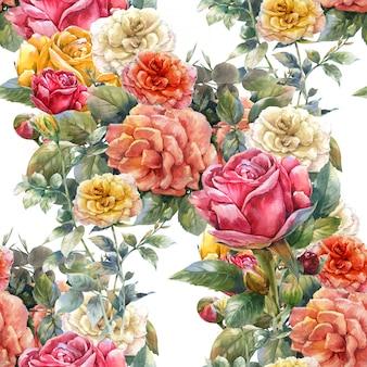 花、ローズ、白のシームレスパターンの水彩画