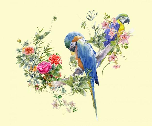 鳥と花、クリームの水彩画