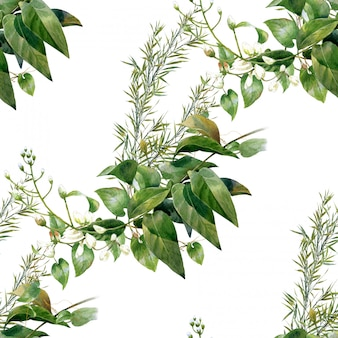 Акварельные иллюстрации листьев, бесшовный фон
