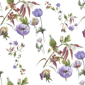 葉と花、シームレスなパターンの水彩画