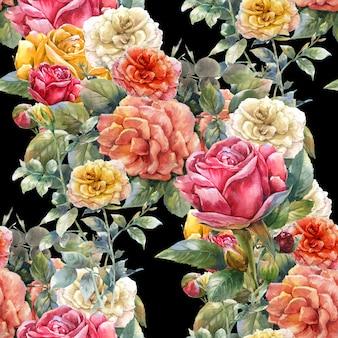 暗い背景に花、ローズ、シームレスなパターンの水彩画