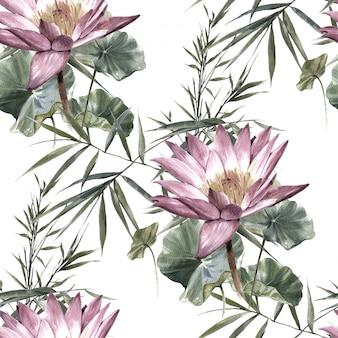 葉と花、白のシームレスパターンの水彩画